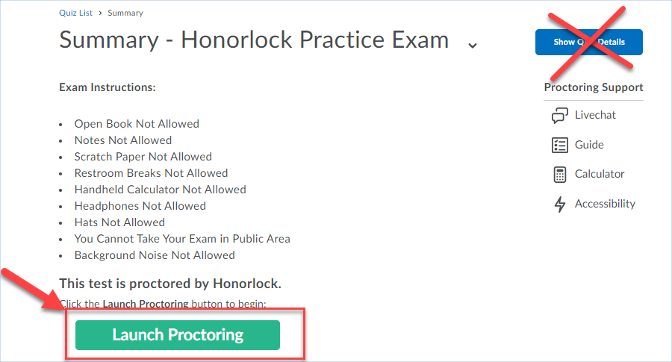 Pic of Exam instructions indicating launch proctoring button