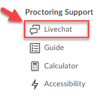 Honorlock Proctoring Support icon menu choosing livechat